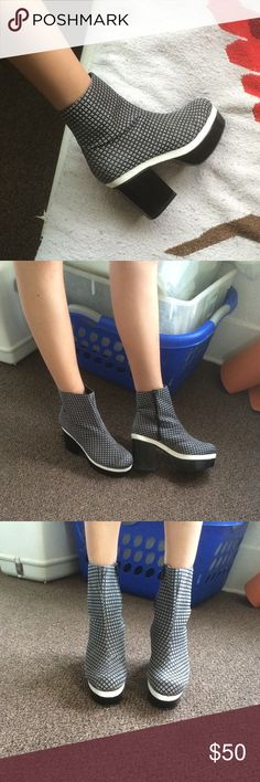 """Platform boots Gray black mod checker boots with black and white platform. Extremely easy to walk in, large platform in toe! Great NYC style. Easily boosts you 5"""" but feels like 2! Fits like 8.5 or 9. Never worn but no box! ASOS Shoes Ankle Boots & Booties"""