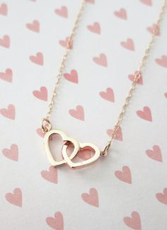 Rose Gold Double Heart Infinity necklace simple by ColorMeMissy etsy Gems Jewelry, Cute Jewelry, Jewelery, Jewelry Accessories, Jewelry Necklaces, Bracelets, Jewellery Box, Oxidised Jewellery, Jewelry Trends