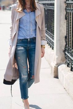 Spring Fashion Trend: the Trench Coat Estilo Fashion, Fashion Mode, Look Fashion, Classic Fashion, Looks Street Style, Looks Style, My Style, Mode Outfits, Casual Outfits