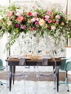 Wedding Trends - Floral Chandeliers. Image via Amy + Jordan.