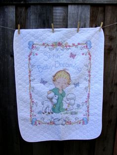 1960's Vintage Cotton Blend White Embroidered Quilt Blanket Boy Room Decor Baby Boy Throw Bedding Bed Spread