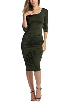 Women's Sexy Cocktail Dress Stretchy Ruched Bodycon Midi Party
