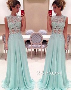 unique green lace chiffon long prom dress, chiffon lace green long evening dress 2016 for teens, cute long bridesmaid dress #prom #promdress