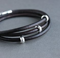 Men's triple leather wrap with silver beads