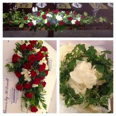 Passion roses, white freesia, thistles and ivy