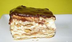 Εκλέρ ταψιού (Γλυκό ψυγείου) Greek Sweets, Greek Desserts, Greek Recipes, Cookie Dough Brownies, Eclairs, Vegan Vegetarian, Oreo, Food And Drink, Yummy Food