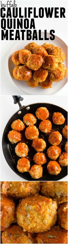 Buffalo Cauliflower Quinoa Meatballs   Simple and delicious MEATLESS meatballs made from cauliflower and quinoa!   thealmondeater.com #vegan