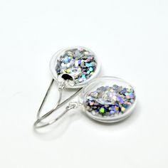 Silver iridescent glitter round blown glass dangle by thestudio8