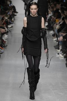 KTZ FW17 was an army of mega-butch street goths sporting larger-than-life streetwear in black, black and more black. Business as usual, then.