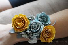 Paper flower corsage I made for my cousin's bridal shower. She then used it for her groom's Boutonniere.