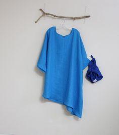 plus size custom fit linen dress + linen furoshiki wrap bag by annyschooecoclothing