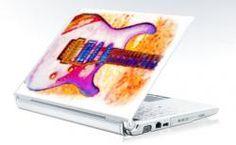 Guitar Laptop Skin  A colorful skin for music lovers, guitar players, collectors.. original watercolor by Bella Katella