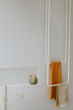 Terrazzo Flooring, Bathroom Flooring, Dream Bathrooms, Beautiful Bathrooms, White Brick Tiles, Green Mosaic Tiles, Vanity Design, Hanging Towels, Family Bathroom