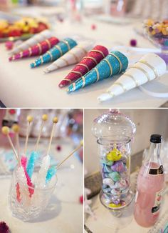 Unicorn Birthday - unicorn horn party hats, have kids put icing on a sugar cone and eat it (decorate a unicorn horn)