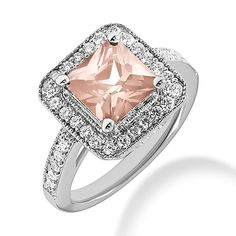 Jewelry Point - 3.65ct Pink Morganite Diamond Halo Engagement Cocktail Ring, $1,750.00 (http://www.jewelrypoint.com/3-65ct-pink-morganite-diamond-halo-engagement-cocktail-ring/)