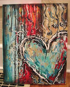 night Another lovely inspiring heart painting.Another lovely inspiring heart painting. Heart Canvas, Canvas Art, Tableau Pop Art, Heart Painting, Love Canvas Painting, Valentines Art, Art Journal Pages, Painting Techniques, Painting Inspiration