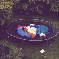 Sleepover on a trampoline. I want a trampoline, so i was like, i'll have SLEEPOVERS on it! to my parents. (plus, then I could ask for a cool tent, too .