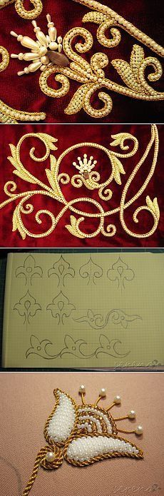 photo, but with rice shaped pearls Pearl Embroidery, Tambour Embroidery, Indian Embroidery, Embroidery Stitches, Embroidery Patterns, Machine Embroidery, Sewing Patterns, Crazy Quilting, Tambour Beading