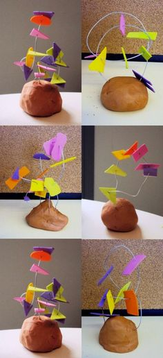 Spring Preschool Art Activities: Wire, Clay & Foam Shape Sculptures Could we use air dry clay and scratch names in. Sculpture Lessons, Sculpture Projects, Sculpture Art, Classe D'art, Arte Elemental, Preschool Art Activities, Ecole Art, Kindergarten Art, Kindergarten Sculpture