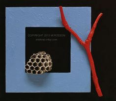 Red Twig Wasp Nest Blue Frame Natural Mixed Media by artskrap, $45.00