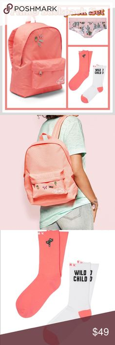 ⚡️Flash Sale!!!⚡️VS Pink® Backpack Set You will get the Pink® Mini Backpack in Coral. Also you will get the cute calf-length socks. Perfect for wearing out or hanging out in your dorm. Comes in a set of two!  2 per pack~Hits at calf~Polyester/ cotton/ elastane~One size fits all.  No low ballers or trades. Please use the OFFER BUTTON for pricing inquiries. Thanks! PINK Victoria's Secret Other