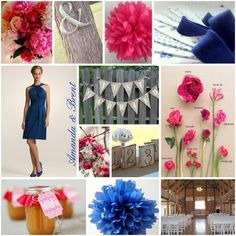 Pink & Blue wedding inspiration #wedding, #pink, #blue