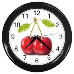 Cherries Plastic Black Frame Battery Operated Round Novelty Kitchen Wall Clock #CustomMade #Novelty