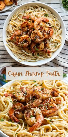 Creamy Cajun Shrimp Pasta - easy Cajun pasta recipe coated in creamy white sauce and topped with blackened shrimp. A seafood dish for weeknight dinners ready in 30 minutes! #ad @tonychacheres Shrimp Pasta Dishes, Cajun Shrimp Pasta, Seafood Pasta, Pasta Food, Yummy Pasta Recipes, Cajun Recipes, Seafood Recipes, Easy Recipes, Dinner Recipes