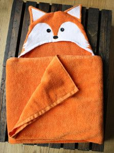 Today I'm going to show you how I made this cute fox towel. Hooded towels are pretty easy to sew