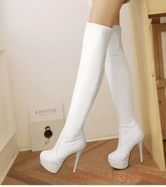 Gr32-46 Overkneestiefel Damen Schuhe High heels Stilettos Plateau Party Stiefel