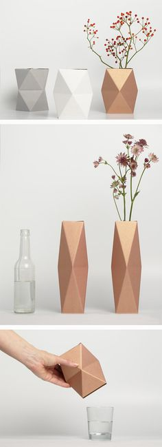 Down and Out Chic: general decor Paper Vase, Paper Lanterns, Diy Paper, Paper Crafts, Geometric Flower, Geometric Decor, Diy Flowers, Paper Flowers, Kirigami