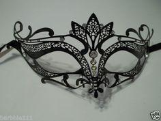 Black Crystal Crown Laser Cut Venetian Mask Masquerade Halloween Metal Filigree | eBay