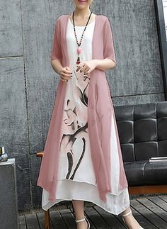Casual Lotus Printed Two-Piece Maxi Dress - Herren- und Damenmode - Kleidung Casual Dresses, Fashion Dresses, Maxi Dresses, Casual Clothes, Cotton Dresses, Hijab Fashion, Dress Outfits, Casual Outfits, Dress Silhouette