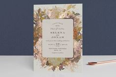 """""""Floral Feast"""" - Hand Drawn, Floral & Botanical Foil-pressed Wedding Invitations in Rose Gold by Phrosne Ras. Pastel Wedding Invitations, Foil Stamped Wedding Invitations, Wedding Invitation Design, Wedding Stationary, Invites, Wedding Insurance, Luxury Wedding Venues, Inexpensive Wedding Venues, Personalized Wedding Gifts"""