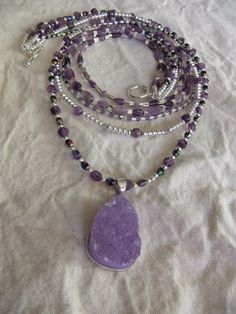 Amethyst and Silver Necklace by centerofbalance on Etsy