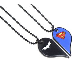 Batman and Superman-Half Heart Necklace Set ❤ liked on Polyvore featuring jewelry, superman jewelry, heart jewellery, heart shaped jewelry and heart jewelry