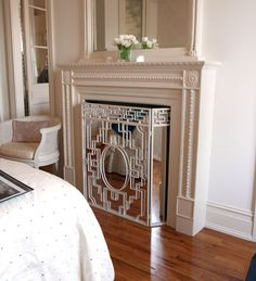 How to hide your tv...built into fireplace & can cover with mirrored screen (see additional pics)