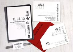 Urban Elegance - Modern Wedding Invitations - Black, White, Gray, Red - Purchase for a Sample.  via Etsy.