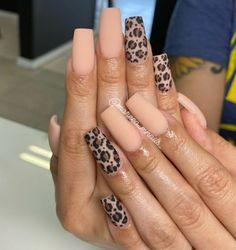 Long Square Acrylic Nails, Best Acrylic Nails, Acrylic Nail Designs, Cheetah Nail Designs, Elegant Nails, Stylish Nails, Leopard Print Nails, Red Cheetah Nails, Gel Nails