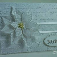 Hello, Happy Tuesday, It's time for another Merry Monday Challenge, and this week we challenge you to use all White or all Ivory with Bro. Poinsettia Cards, Christmas Poinsettia, Noel Christmas, Handmade Christmas, Poinsettia Flower, Crochet Christmas, Christmas Cards 2018, Homemade Christmas Cards, Xmas Cards