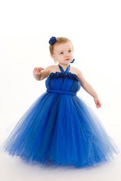 Flower Girl Tutu Dress  Royal Blue  by Cutiepatootiedesignz, $55.00