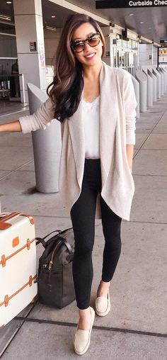 women's spring fashion beige knitted cardigan+white shirt+black slim pants