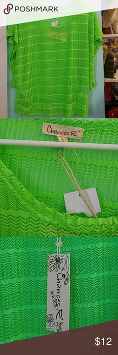 New Chances R top Spandex fabric new with tags neon green chances R Tops Blouses
