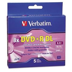 Dual-Layer DVD+R Discs, 8.5GB, 8x, w/Jewel Cases, 5/Pack, Silver by Verbatim. $25.74. Enormous