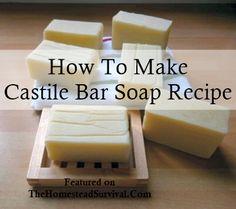 The Homestead Survival | How To Make Castile Bar Soap Recipe | Homemade Soap Recipe - http://thehomesteadsurvival.com