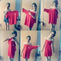 ¿Cómo hacer un vestido con una camiseta ancha? versión II