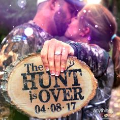 The HUNT is Over WEDDING Engagement Personalized Date Rustic Wood Slice plaque decoration sign. Get your at Anything Photos. The HUNT is Over WEDDING Engagement Personalized Date Rustic Wood Slice plaque decoration sign. Get your at Anything Photos. Hunting Engagement Photos, Country Engagement Pictures, Engagement Photo Poses, Fall Engagement, Engagement Couple, Engagement Photography, Wedding Photography, Engagement Shoots, Couple Photography