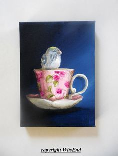 Bird Teacup painting original still life Baby Parakeet on raspberries cup, by WitsEnd via Etsy