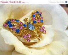 On Sale Vintage Rhinestone Butterfly Brooch by Sisters2Vintage, $13.60