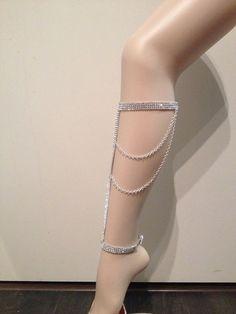 Glamchain Leg Jewelry Body jewelry Leglet by SinsationJewelry, Body Chain Jewelry, Body Jewellery, Modern Jewelry, Fine Jewelry, Unique Jewelry, Jewelry Box, Jewelry Accessories, Fashion Accessories, Fashion Jewelry
